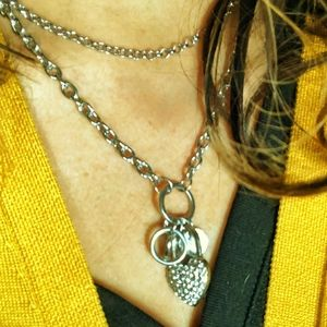 PAVE PENDANT CHUNKY CHAIN LAYERING NECKLACE